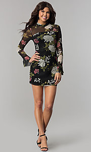 Image of long-sleeve floral-print wedding-guest party dress. Style: EM-FHB-3454-006 Detail Image 3