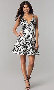 Image of short v-neck ivory party dress with black print. Style: EM-FPT-3451-124 Detail Image 3