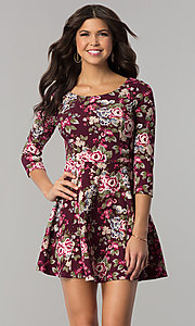 Short 3/4 Sleeve Floral Print Casual Dress