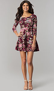 Image of sleeved eggplant purple print short casual dress. Style: EM-FQT-3345-511 Detail Image 2