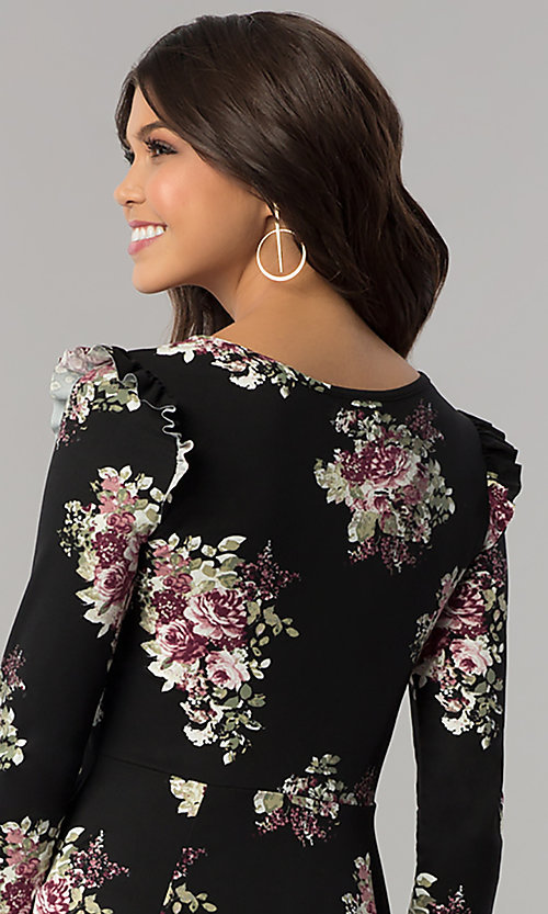 Image of casual short floral-print party dress with sleeves. Style: EM-FPY-3452-022 Detail Image 2