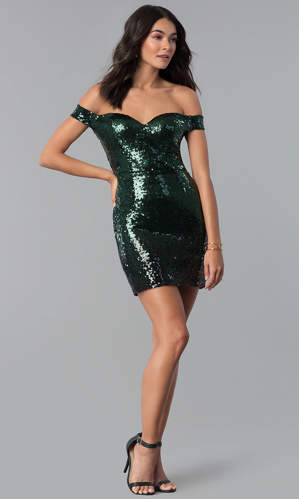 Green And Black Sequin Short Party Dress Promgirl