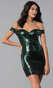 Off-Shoulder Short Sequin Green/Black Party Dress