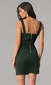 Image of short hunter green bandage cocktail party dress. Style: EM-DBQ-1003-304 Back Image
