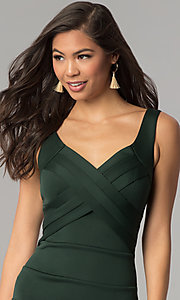 Image of short hunter green bandage cocktail party dress. Style: EM-DBQ-1003-304 Detail Image 1