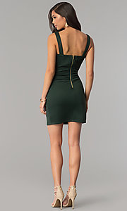 Image of short hunter green bandage cocktail party dress. Style: EM-DBQ-1003-304 Detail Image 3
