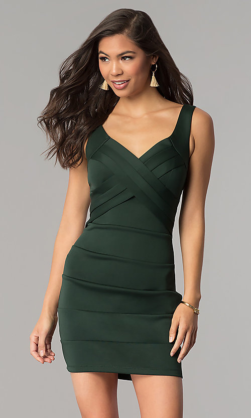 Image of short hunter green bandage cocktail party dress. Style: EM-DBQ-1003-304 Front Image