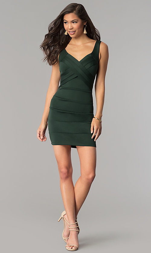 Image of short hunter green bandage cocktail party dress. Style: EM-DBQ-1003-304 Detail Image 2
