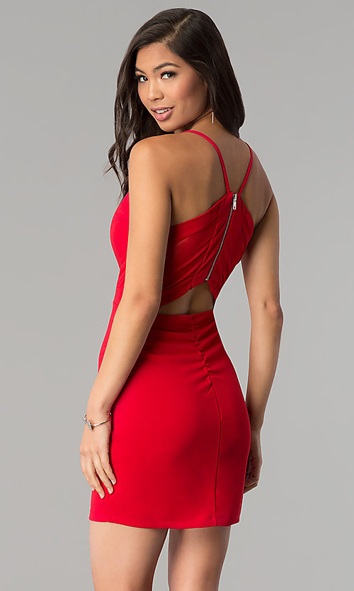 Image of v-neck red short party dress by Emerald Sundae. Style: EM-FRI-3405-600 Back Image