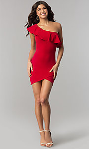 Image of short one-shoulder bodycon red holiday party dress. Style: BLU-8726 Detail Image 2