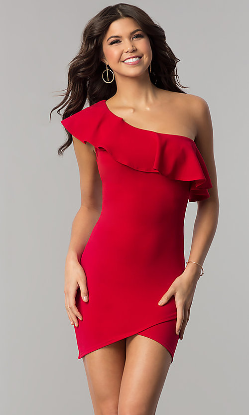 2201f424d08 Image of short one-shoulder bodycon red holiday party dress. Style  BLU-