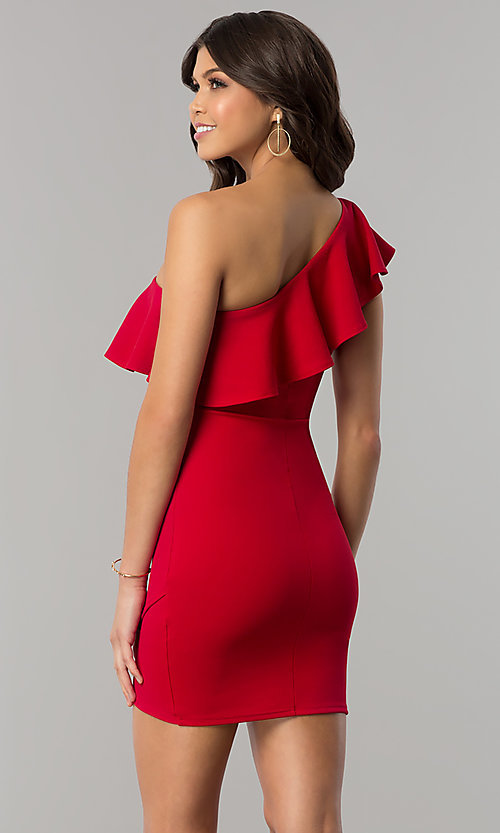 Image of short one-shoulder bodycon red holiday party dress. Style: BLU-8726 Back Image