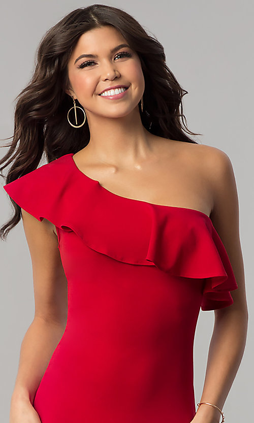 Image of short one-shoulder bodycon red holiday party dress. Style: BLU-8726 Detail Image 1