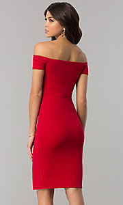 Image of red off-the-shoulder knee-length holiday dress. Style: BLU-BD8701 Back Image