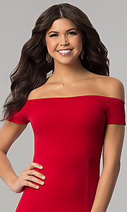 Image of red off-the-shoulder knee-length holiday dress. Style: BLU-BD8701 Detail Image 1
