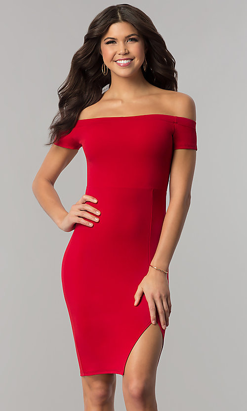 Image of red off-the-shoulder knee-length holiday dress. Style: BLU-BD8701 Front Image