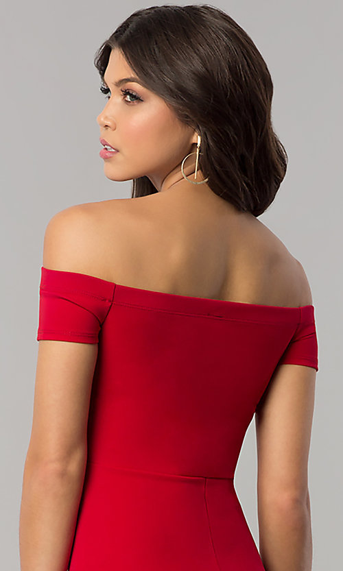 Image of red off-the-shoulder knee-length holiday dress. Style: BLU-BD8701 Detail Image 2