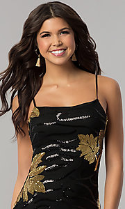 Image of short gold and black sequin bodycon party dress. Style: BLU-BD8729-G Detail Image 1