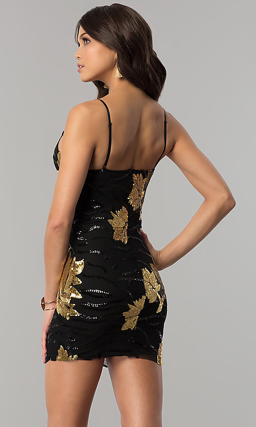 Image of short gold and black sequin bodycon party dress. Style: BLU-BD8729-G Back Image