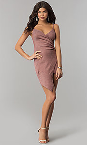 Image of surplice-v-neck faux-wrap short holiday party dress. Style: BLU-BD8110-16 Detail Image 2