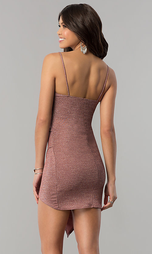 Image of surplice-v-neck faux-wrap short holiday party dress. Style: BLU-BD8110-16 Back Image