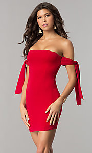 Image of short off-the-shoulder tied-sleeve red party dress. Style: BLU-BD8720 Front Image