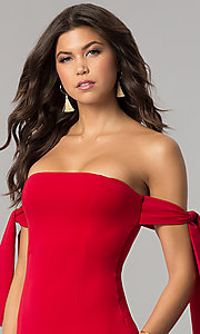 Image of short off-the-shoulder tied-sleeve red party dress. Style: BLU-BD8720 Detail Image 1