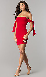 Image of short off-the-shoulder tied-sleeve red party dress. Style: BLU-BD8720 Detail Image 2