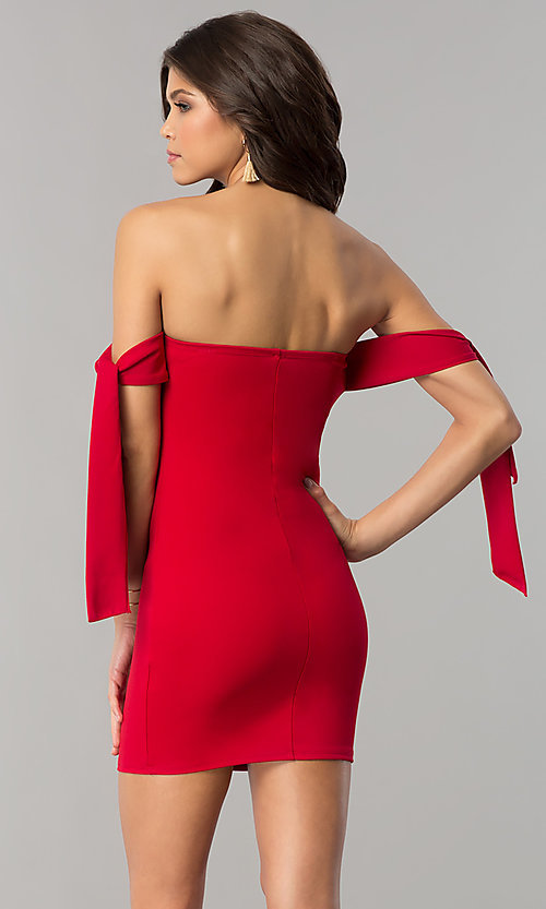 Image of short off-the-shoulder tied-sleeve red party dress. Style: BLU-BD8720 Back Image