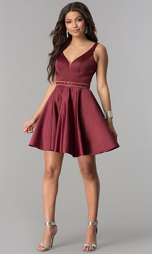 Image of accented-waist short burgundy red satin party dress. Style: DQ-2149 Detail Image 2