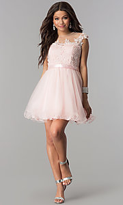 Image of lace-applique-bodice short homecoming dress. Style: DQ-2153 Detail Image 2