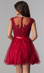 Image of lace-applique-bodice short homecoming dress. Style: DQ-2153 Back Image