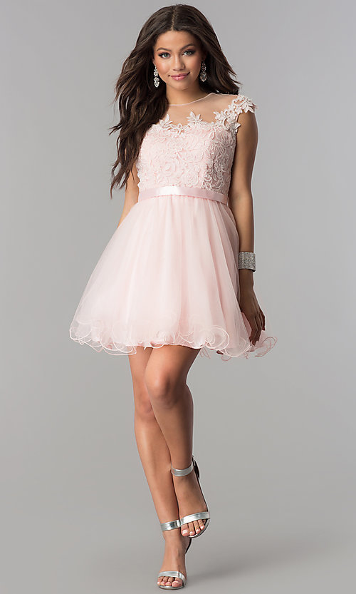 Image of lace-applique-bodice short homecoming dress. Style: DQ-2153 Detail Image 3