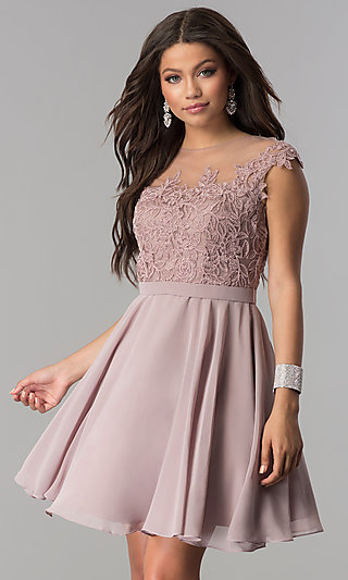 Short Chiffon Party Dress with Lace-Applique Bodice
