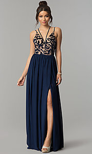 Image of long multi-strap v-neck chiffon prom dress with slit. Style: CT-8102GE3ATP Front Image