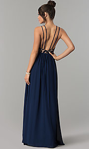 Image of long multi-strap v-neck chiffon prom dress with slit. Style: CT-8102GE3ATP Back Image