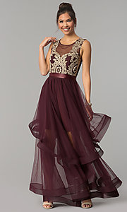Image of long a-line burgundy red prom dress. Style: CT-8145RM2CTP Front Image