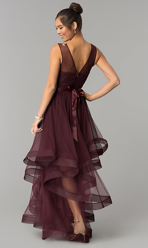 Image of long a-line burgundy red prom dress. Style: CT-8145RM2CTP Back Image