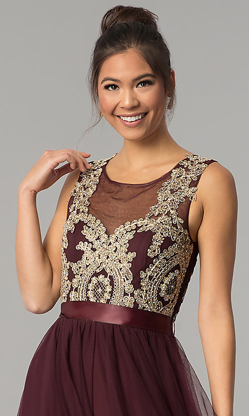 Image of long a-line burgundy red prom dress. Style: CT-8145RM2CTP Detail Image 1
