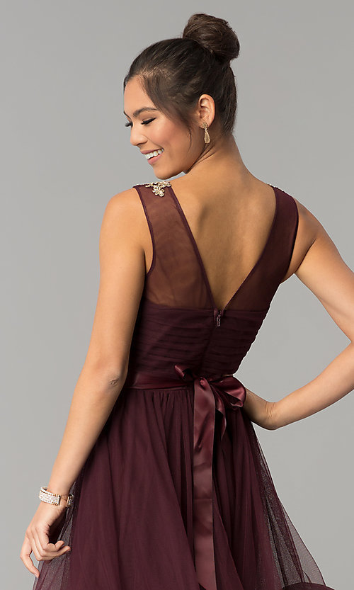 Image of long a-line burgundy red prom dress. Style: CT-8145RM2CTP Detail Image 2