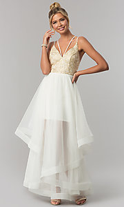 Image of long tiered v-neck prom dress with embroidery. Style: CT-8332GD3ATP Front Image