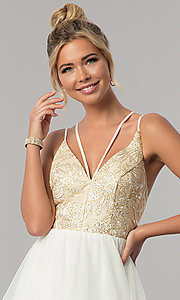 Image of long tiered v-neck prom dress with embroidery. Style: CT-8332GD3ATP Detail Image 1