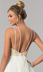 Image of long tiered v-neck prom dress with embroidery. Style: CT-8332GD3ATP Detail Image 2