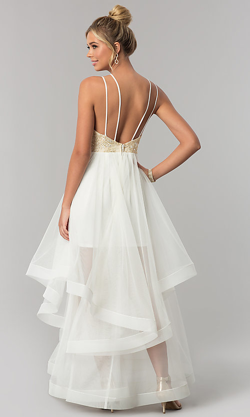 Image of long tiered v-neck prom dress with embroidery. Style: CT-8332GD3ATP Back Image