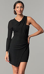 Image of BCBGenerations one-sleeve short black holiday dress. Style: BC-OOC62N80 Front Image