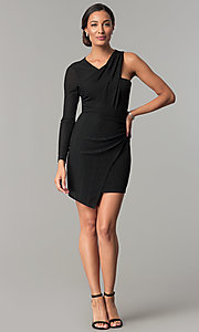 Image of BCBGenerations one-sleeve short black holiday dress. Style: BC-OOC62N80 Detail Image 2
