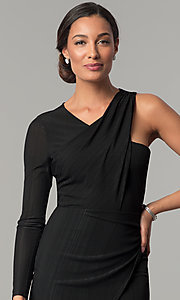 Image of BCBGenerations one-sleeve short black holiday dress. Style: BC-OOC62N80 Detail Image 1