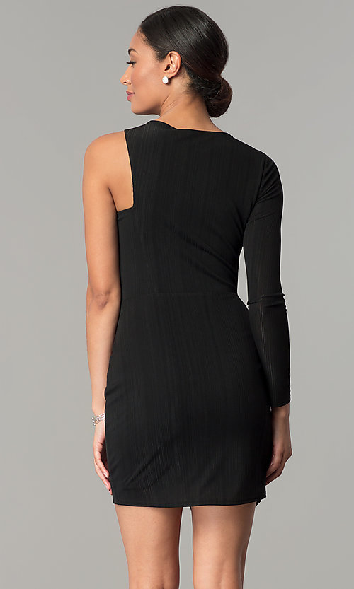 Image of BCBGenerations one-sleeve short black holiday dress. Style: BC-OOC62N80 Back Image
