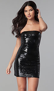 Image of short strapless black sequin mini party dress. Style: BC-GVA62N51 Front Image