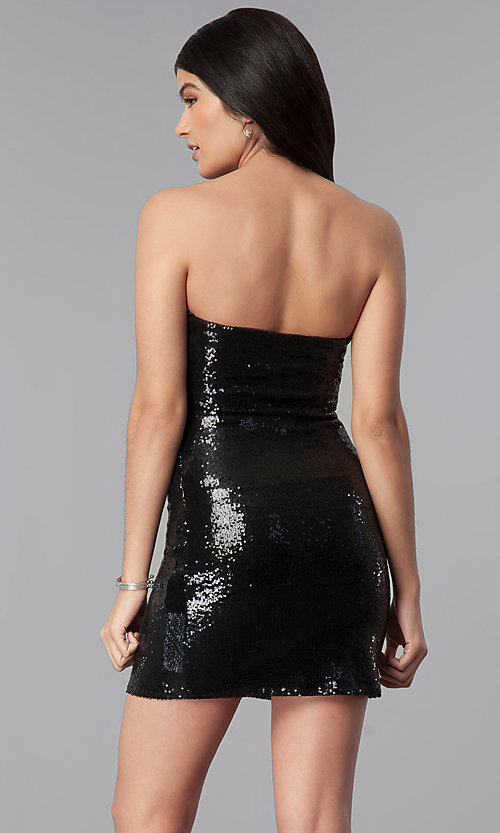 Image of short strapless black sequin mini party dress. Style: BC-GVA62N51 Back Image
